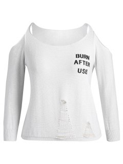 Plus Size Cold Shoulder Letter Ripped Knitwear - White 2xl