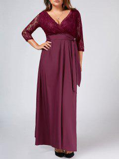 Lace Panel Belted Plus Size Prom Dress - Purplish Red 4xl