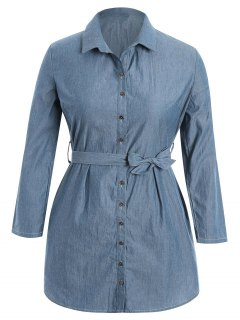 Belted Plus Size Denim Shirt Dress - Denim Blue 2xl