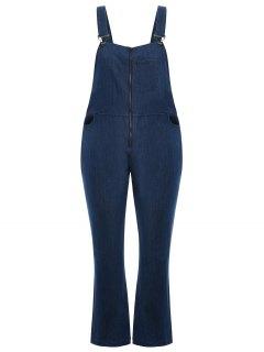 Plus Size Front Zipper Denim Overalls - Denim Blue 2xl
