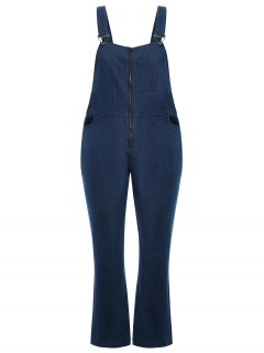Plus Size Front Zipper Denim Overalls - Denim Blue 4xl