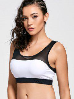 Color Block Mesh Panel Sports Bra - White And Black S