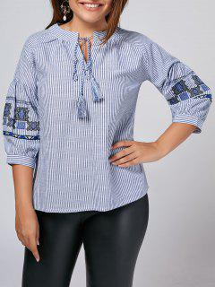 Plus Size Embroidered Striped Blouse - Stripe 2xl