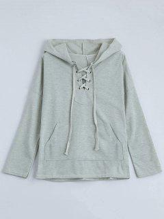 Drop Shoulder Lace Up Hoodie - Light Gray M