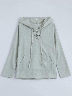 Drop Shoulder Lace Up Hoodie - Light Gray L