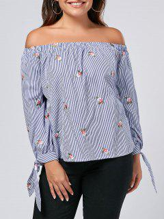Embroidered Plus Size Off Shoulder Top - Stripe 2xl