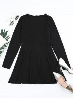 Round Collar Long Sleeve Mini Dress - Black L