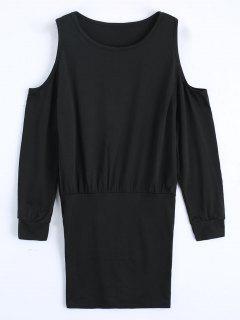 Cold Shoulder Long Sleeve Mini Dress - Black Xl