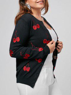 Cherry Embroidered Plus Size Cardigan - Black 3xl