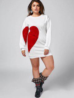 Heart Plus Size Patch Desigh Mini Dress - White 5xl