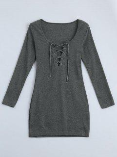 Plunging Neck Lace Up Fitted Dress - Gray Xl