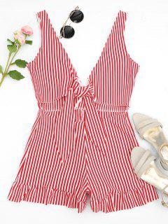 Bowknot Stripes Cut Out Romper - Rayure L
