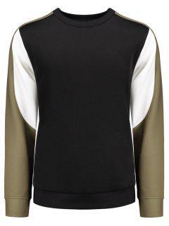 Crew Neck Color Block Panel Sweatshirt - Black M