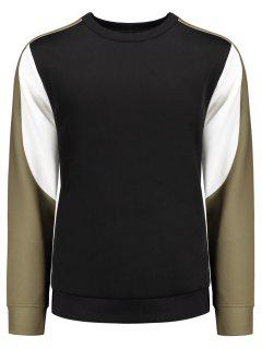 Crew Neck Color Block Panel Sweatshirt - Black L