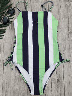 Stripe Lace-Up Backless Swimsuit - Stripe M