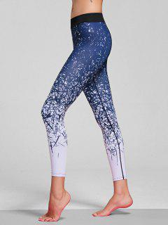 Abstract Print Stretchy Yoga Leggings - Blue M