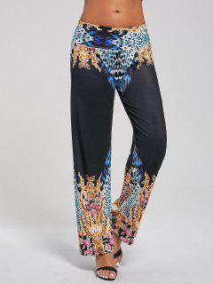 Pantalones De Palazzo De La Impresión Floral De Leopardo - L
