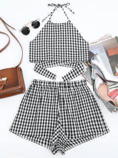 Halter Checked Top And Shorts Set - Checked M