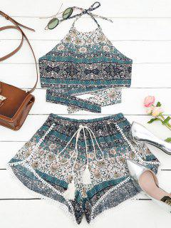 Tribal Print Halter Top And Shorts Set - Multi S