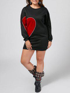 Plus Size Long Sleeve Heart Patched Dress - Black 3xl