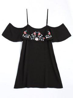 Embroidered Ruffles Cold Shoulder Mini Dress - Black M