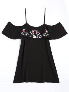 Vestido De Hombro Frío Con Volantes - Negro M
