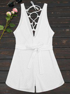Plunging Neck Lace Up Belted Romper - White L