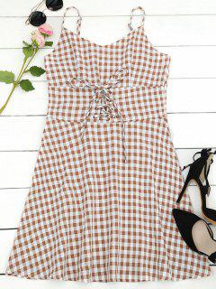 Lace Up Checked A Line Dress - Checked M