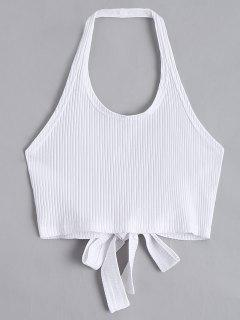 Halter Criss Cross Ribbed Crop Top - White M