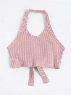 Halter Criss Cross Ribbed Crop Top - Pink L