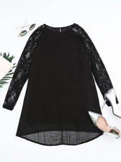 Lace Panel Cut Out Shift Dress - Black S