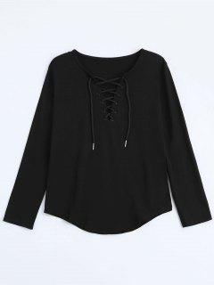 Lace Up Long Sleeve Plunge Tee - Black L