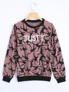 Letter Embroidered Graphic Sweatshirt - Pink Xl