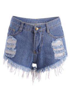 Ripped Denim Cutoffs Shorts - Blue S
