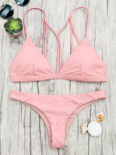 Gepolsterter Rücken Riemchen Badeanzug - Pink S