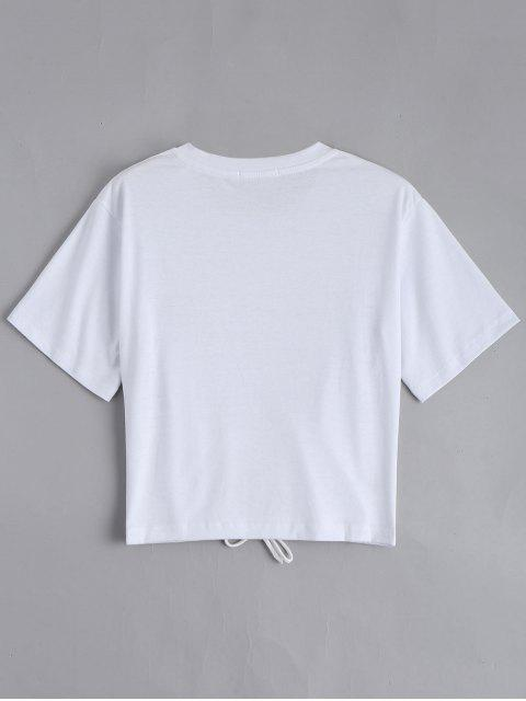 shop Floral Patched Lace Up Tee - WHITE L Mobile