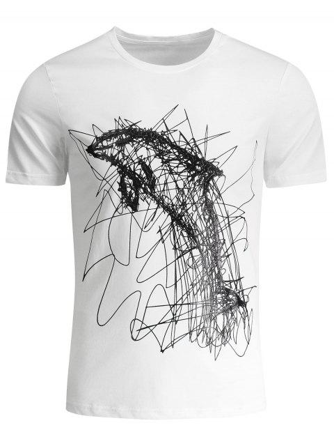 trendy Mens Graffiti Dolphin Graphic Jersey Tee - WHITE 2XL Mobile