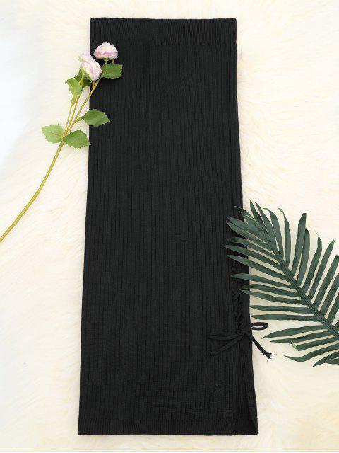 Lace Up falda de punto de cintura alta - Negro Talla única Mobile