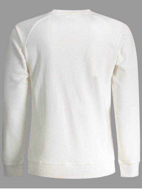 Hommes Terry Pullover Sweatshirt - Blanc XL Mobile