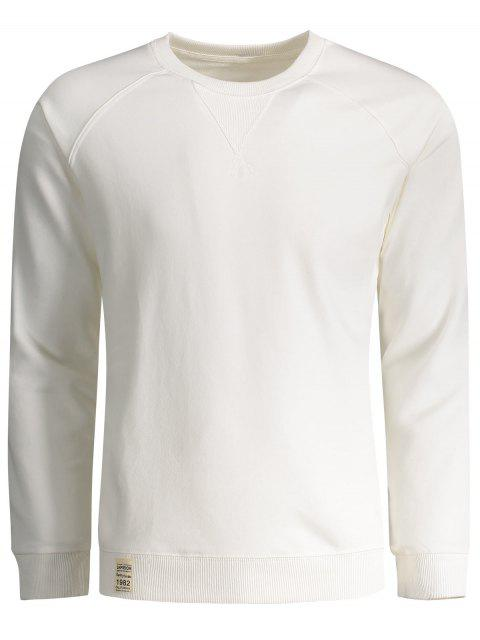Hommes Terry Pullover Sweatshirt - Blanc L Mobile
