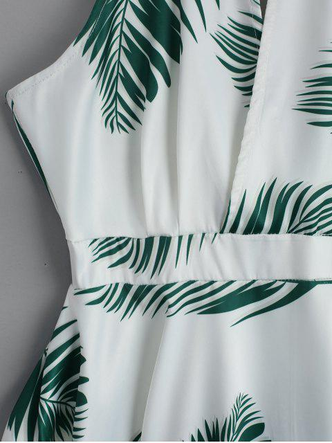 affordable Cut Out Leaves Graphic Mini Dress - WHITE L Mobile