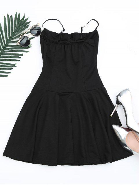 womens Lace Up Cami Flare Dress - BLACK ONE SIZE Mobile