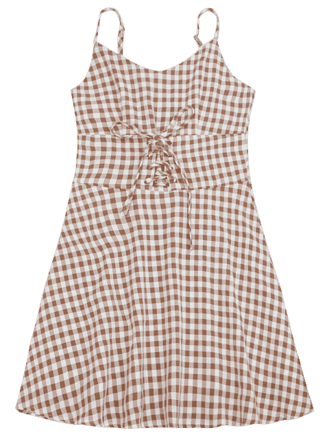 Lace Up Checked A Line Dress - Carré L Mobile