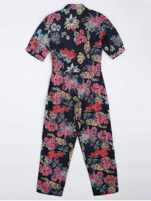 chic Floral Belted Straight Jumpsuit - FLORAL S Mobile