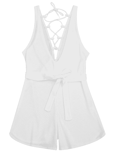 women Plunging Neck Lace Up Belted Romper - WHITE M Mobile