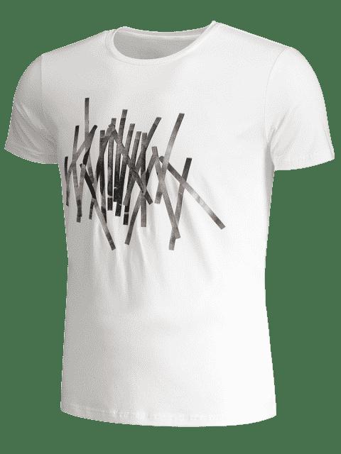 new Slim Fit Mens Foil Stripe Tee - WHITE 3XL Mobile