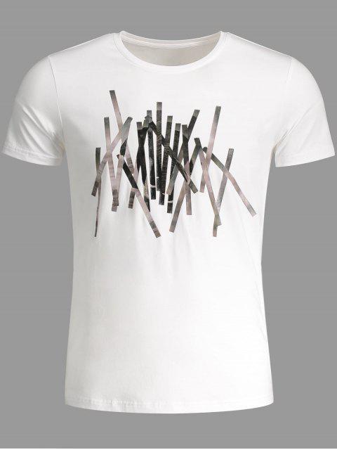 T-shirt Slim Fit Mens Stripe - Blanc 2XL Mobile