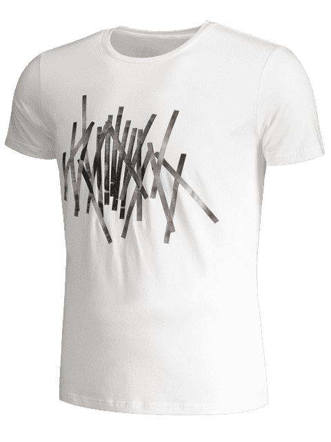 outfit Slim Fit Mens Foil Stripe Tee - WHITE 2XL Mobile