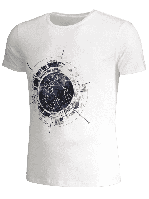fancy Short Sleeve Mens Crewneck Graphic Tee - WHITE XL Mobile