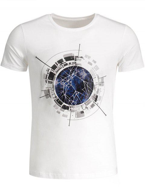 T-shirt Graphique Col Rond - Blanc XL Mobile